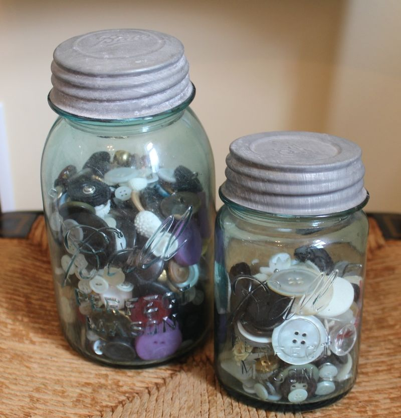 Mason jars with buttons