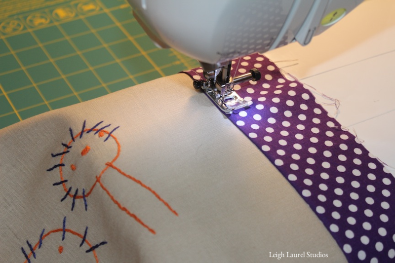 Sewing pillow border