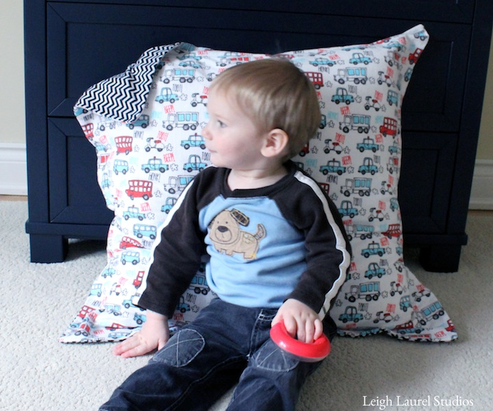 Boy on floor pillow