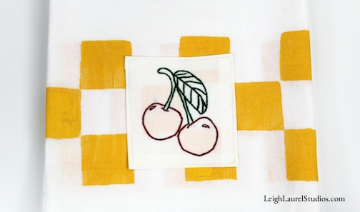 Cherry Embroidered Tea Towel Tutorial