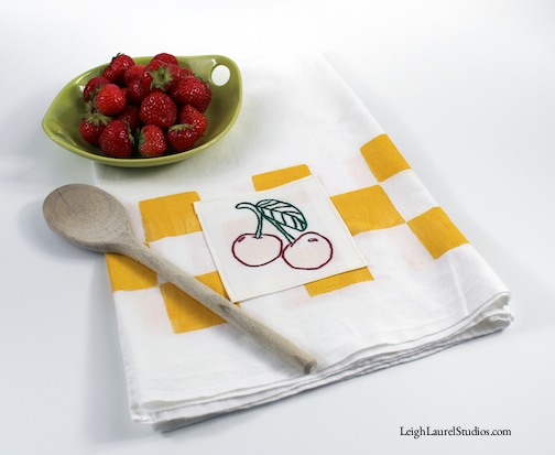 Cherry tea towel 1