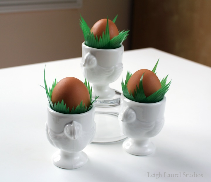 Sushi grass in egg cup