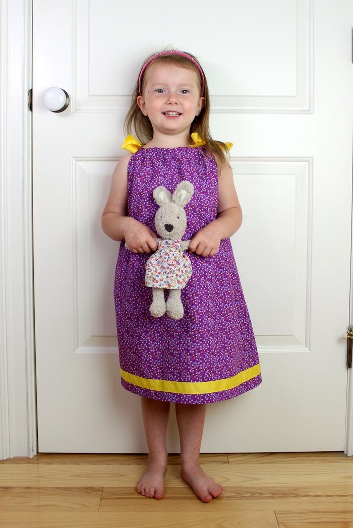 Child/'s Purple Floral Pillowcase Dress Size 2