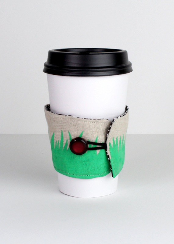 Tutorial Hand Printed Coffee Cup Sleeve Karin Jordan Studio