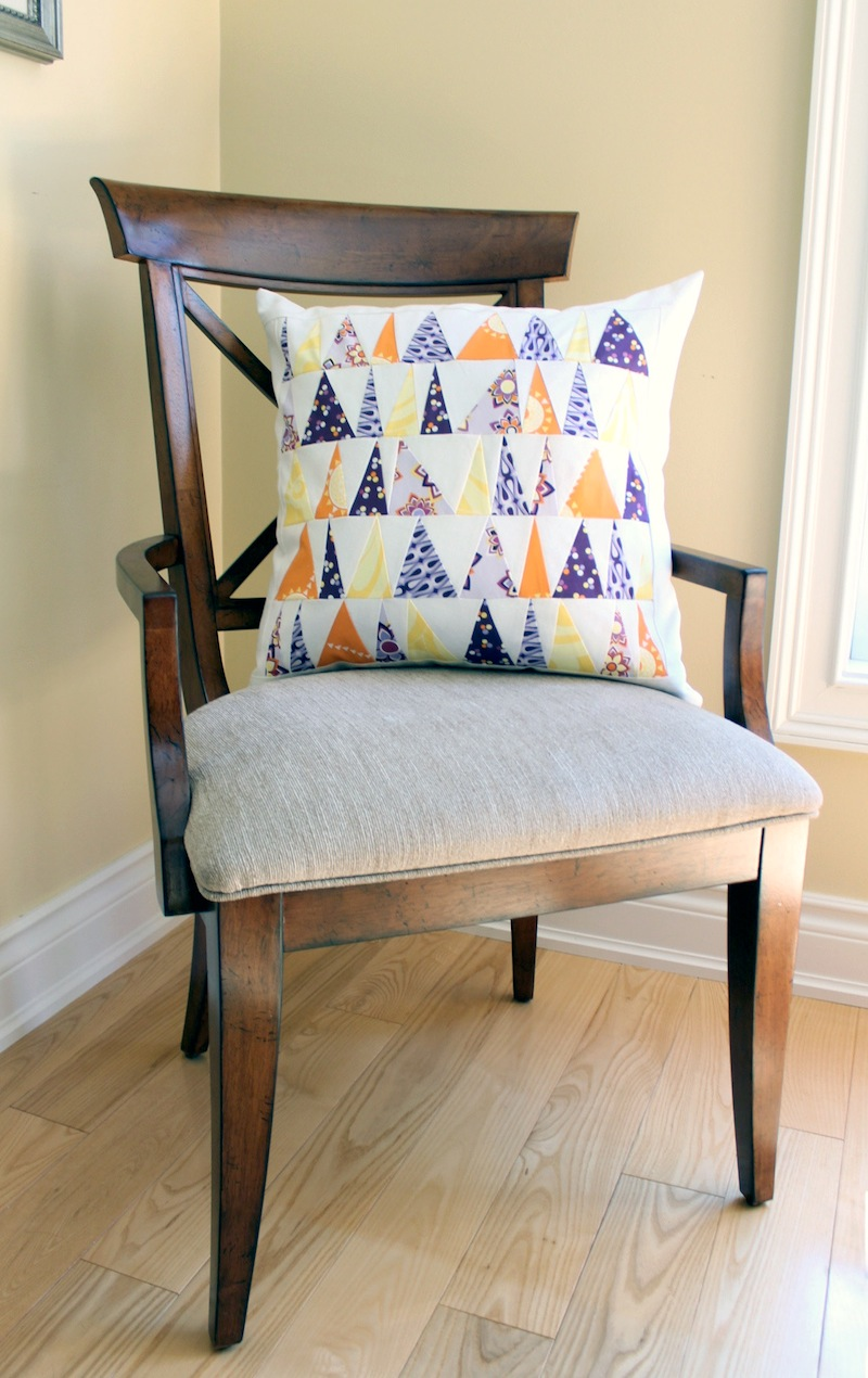 Wonky pillow on chair