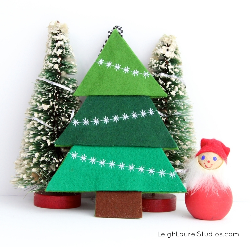 Felt Christmas Tree Pattern.Felt Tree Ornament With Decorative Machine Stitching Karin