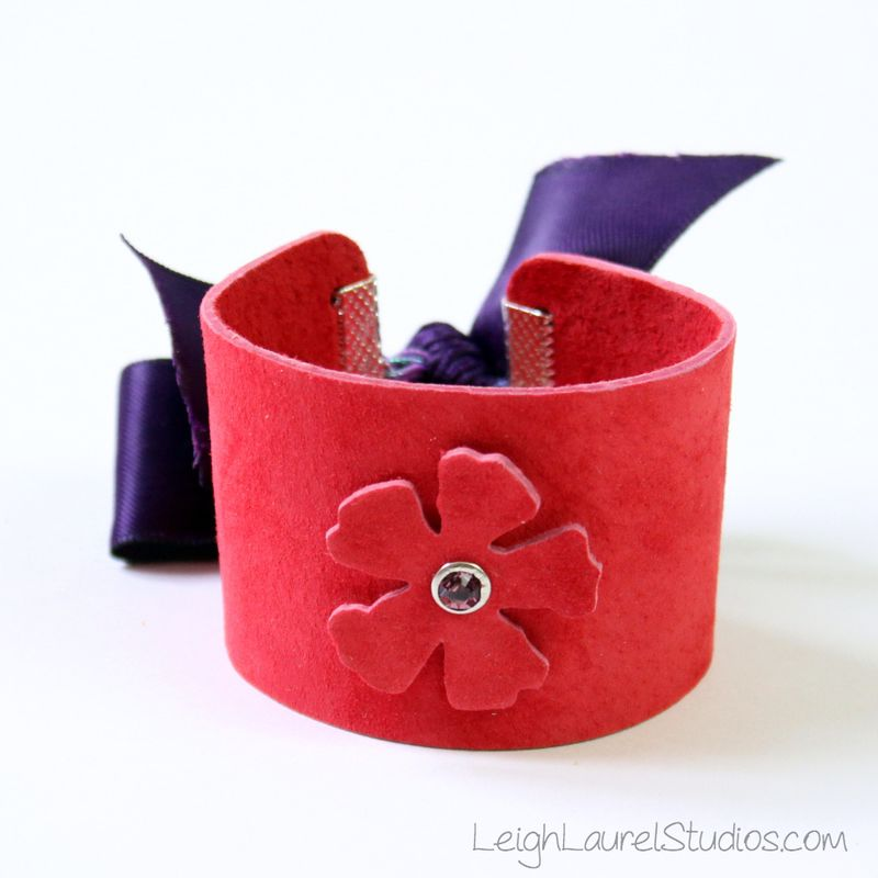 Red leather and swarovski crystal bracelet with ribbon closure by leigh laurel studios
