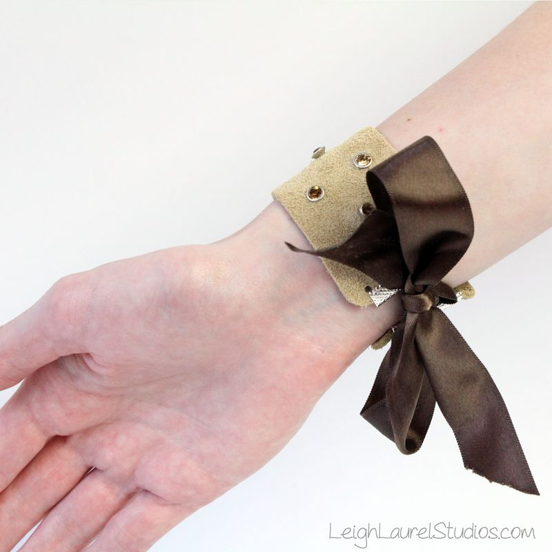 Brown leather and swarovski crystal bracelet with ribbon closure by leigh laurel studios