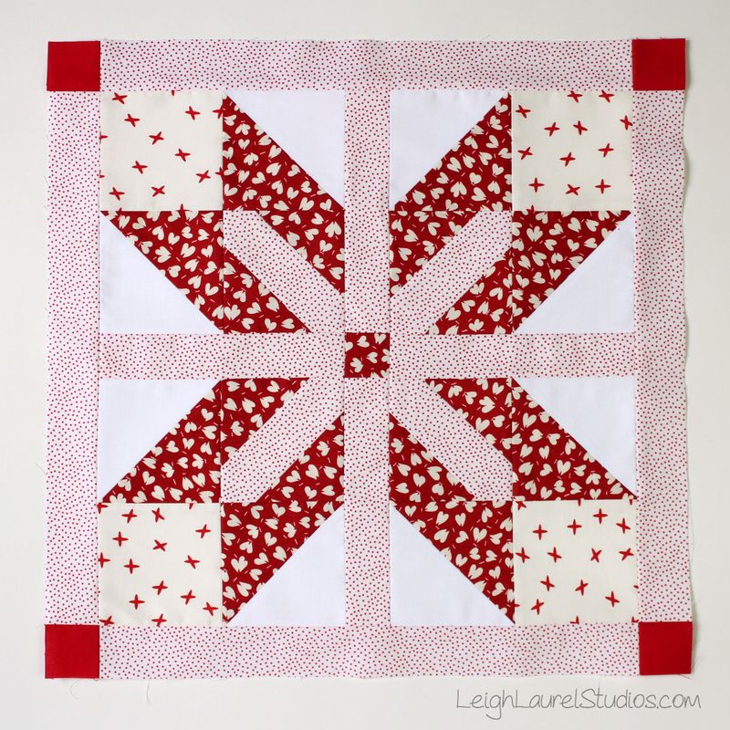 Emblem block in red and white from Fat Quarter Style by Karin Jordan of Leigh Laurel Studios
