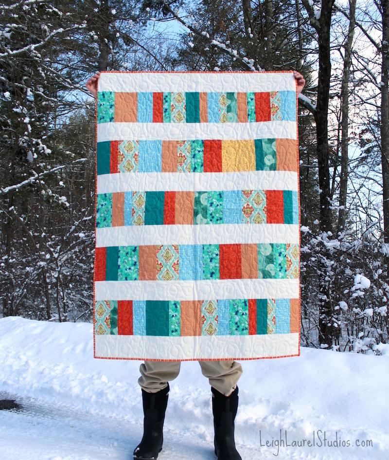 Green orange quilt full 2 pm