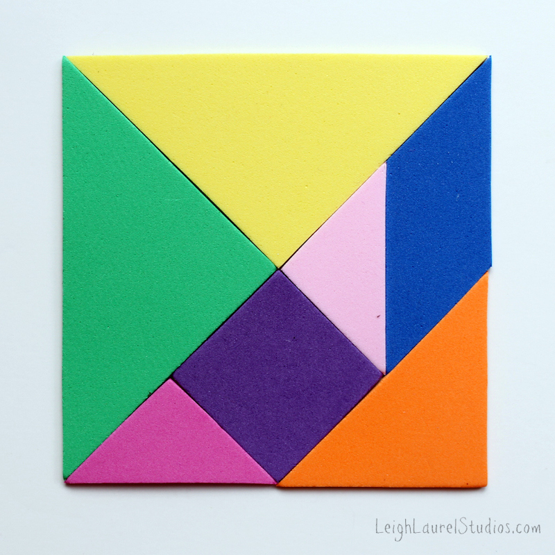 Magnetic craft foam tangrams for kids - a leigh laurel studios tutorial