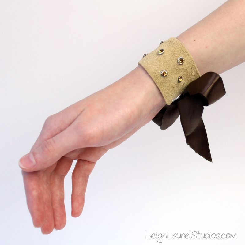 Brown leather and swarovski crystal bracelet by leigh laurel studios.jpg