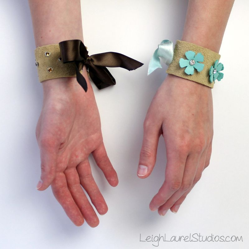 Leather and swarovski bracelets - Leigh Laurel Studios