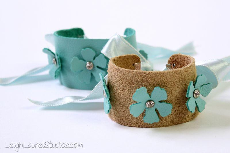 Leather and swarovski crystal bracelets by leigh laurel studios