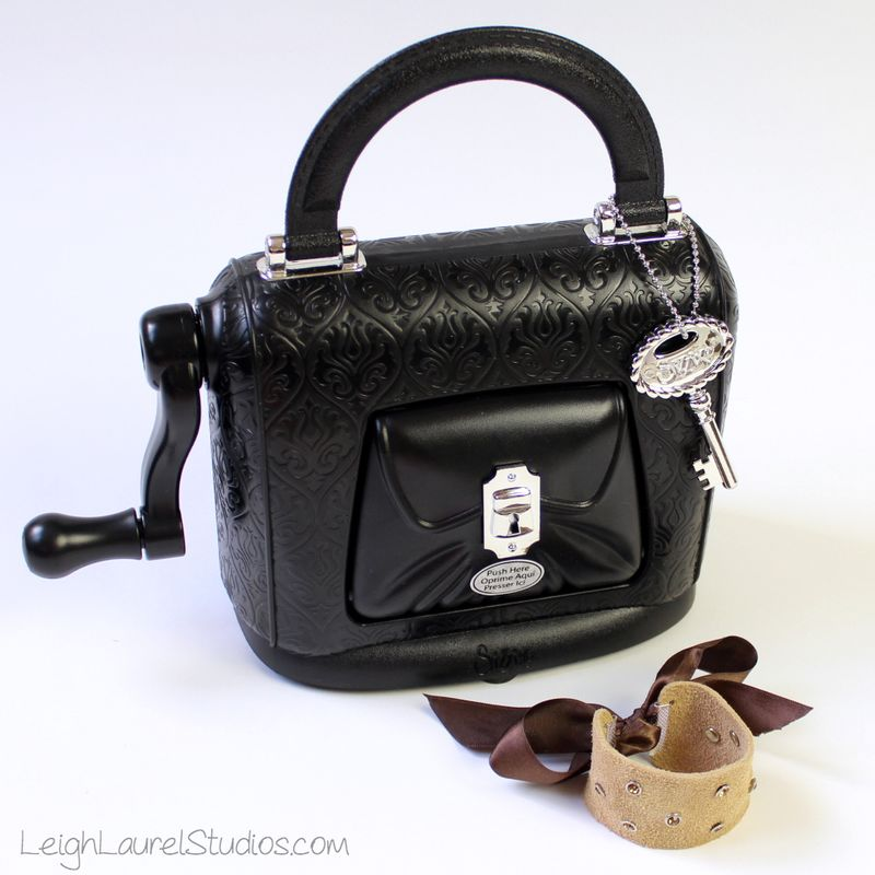 Leather and swarovski bracelet with sizzix sophisticut - by Leigh Laurel Studios