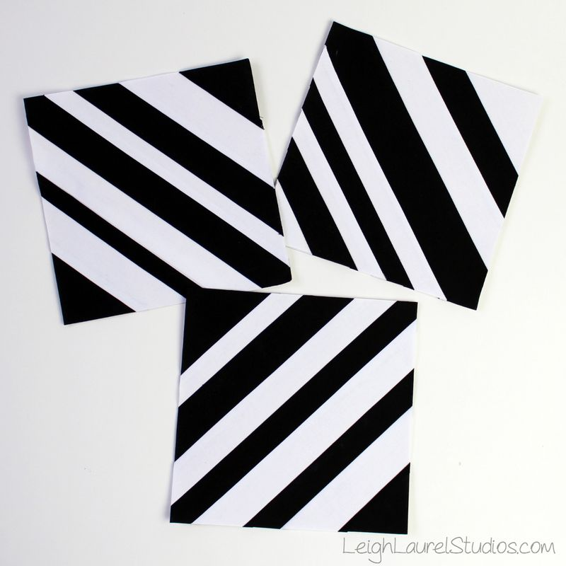 Black and white paper pieced strip blocks by Leigh Laurel Studios