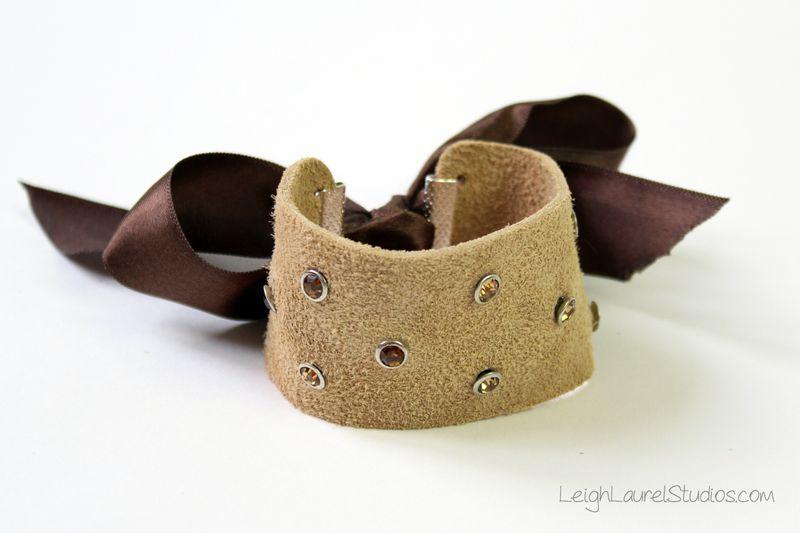 Brown leather and swarovski crystal bracelet by leigh laurel studios