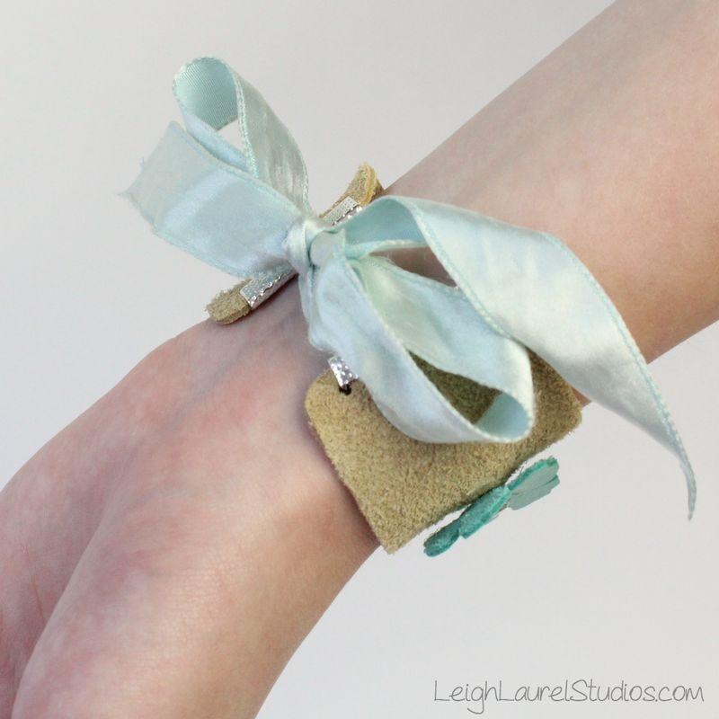 Leather and swarovski bracelet by Leigh Laurel Studios