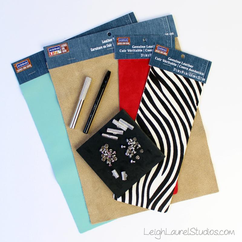B_materials - leather and swarovski bracelets