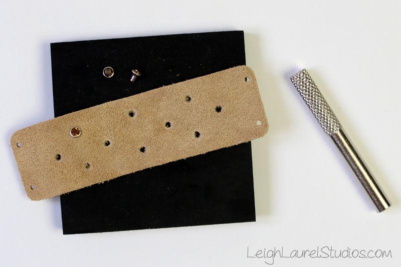 F_adding swarovski rivets to fashion cuff