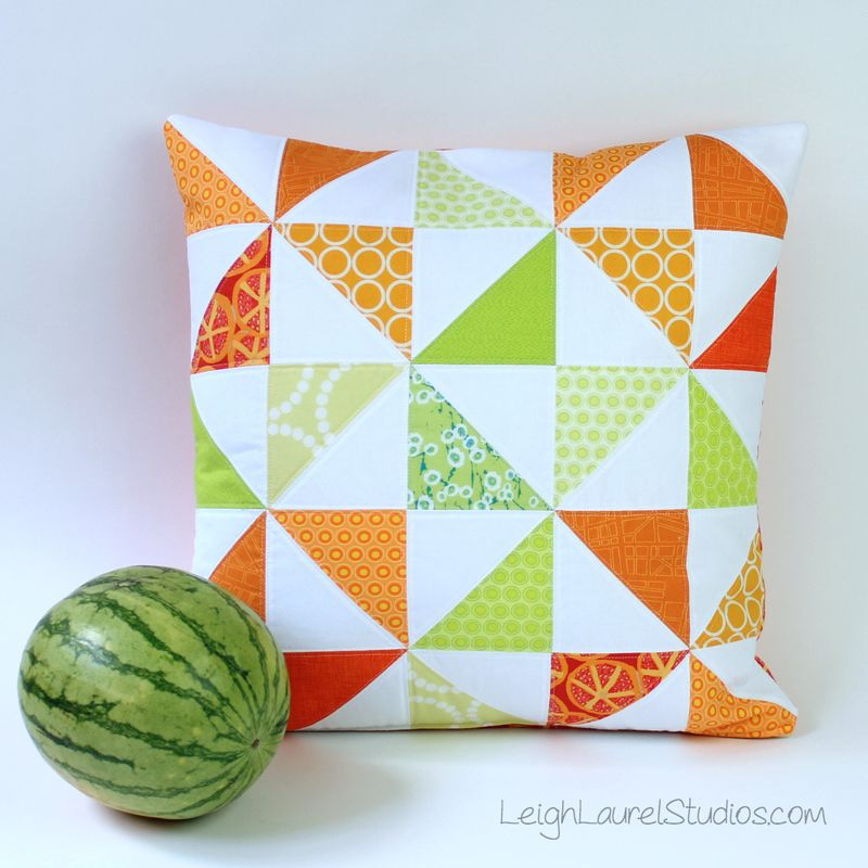 Melon slice pillow pattern with printable coloring sheet by Karin Jordan - Leigh Laurel Studios