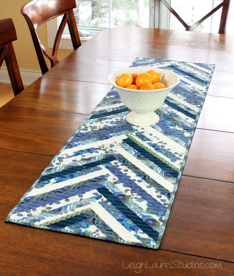 Herringbone table runner - free pattern by karin jordan of leigh laurel studios for pellon