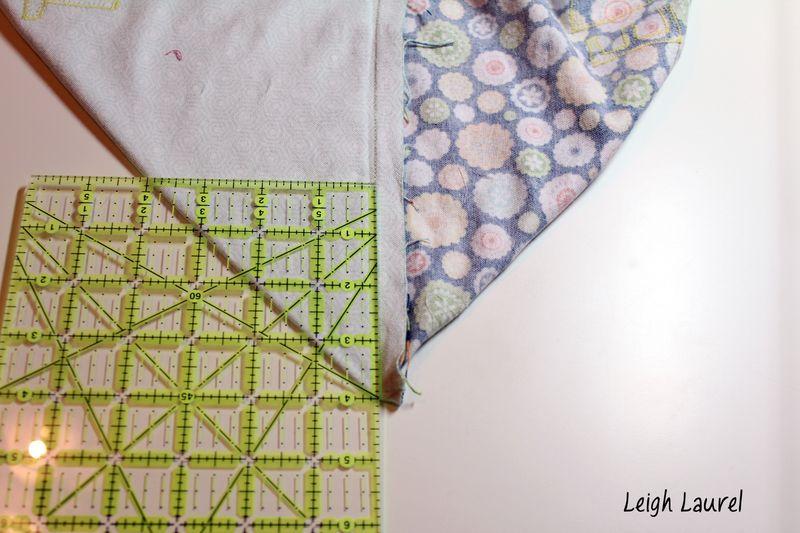 Boxing the corners - flannel pet bed tutorial by karin jordan