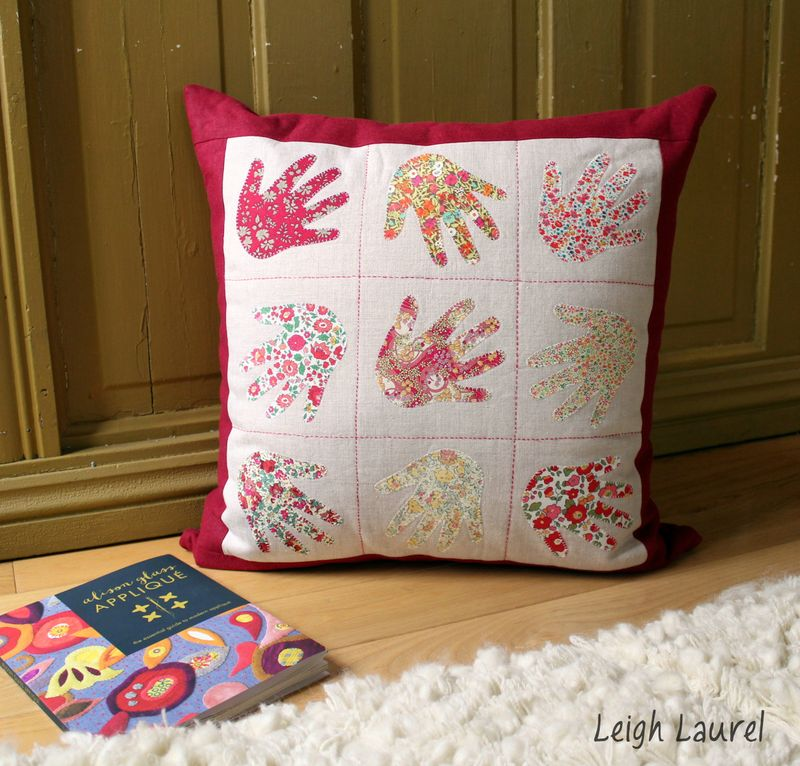Handprint pillow by karin jordan - quilt now issue 7