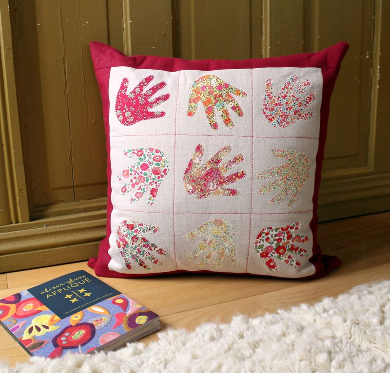 Handprint pillow by karin jordan in quilt now issue 7