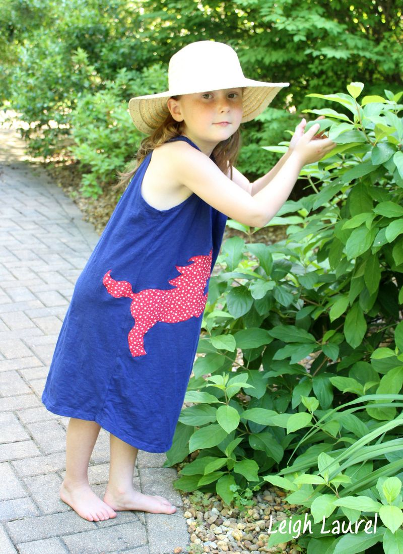 Girls' sun dress with appliquéd horse by karin jordan