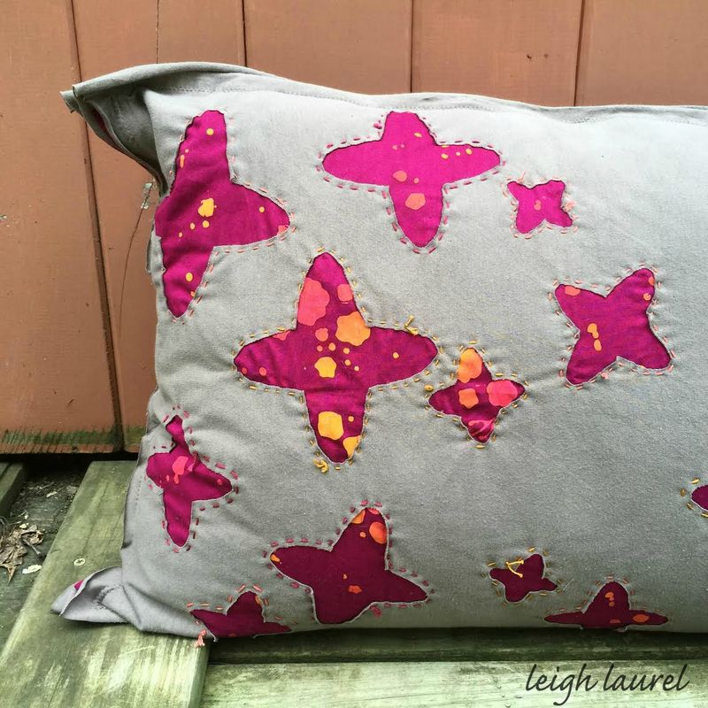 Reverse applique jersey pillow by karin jordan