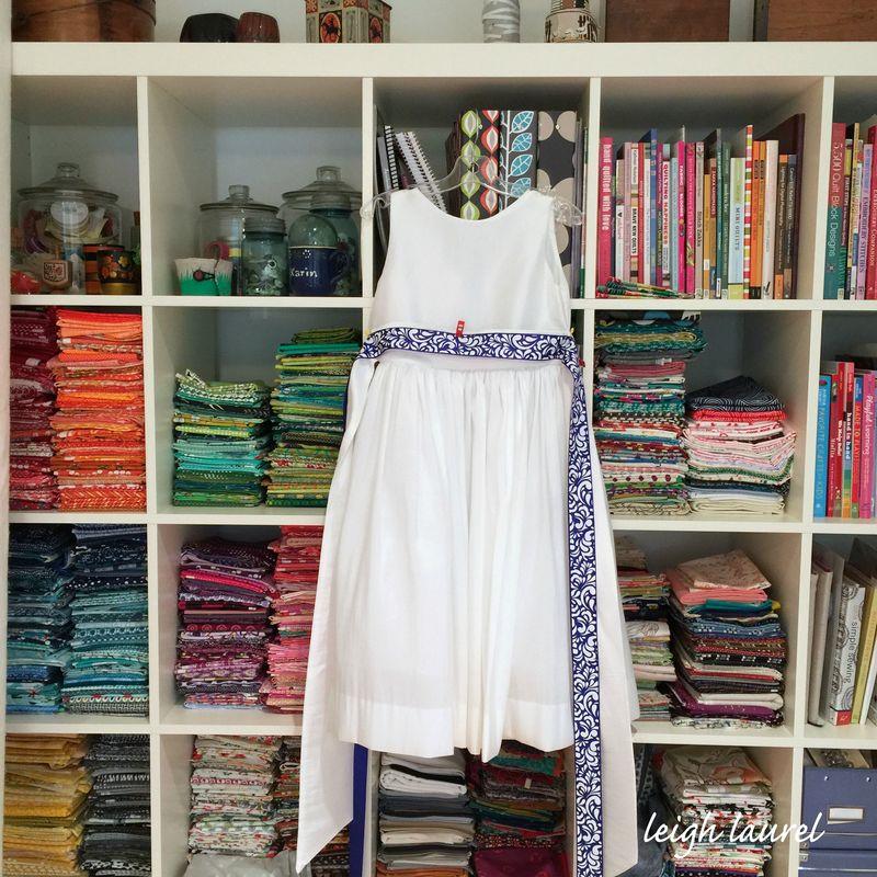 Dress hanging in studio