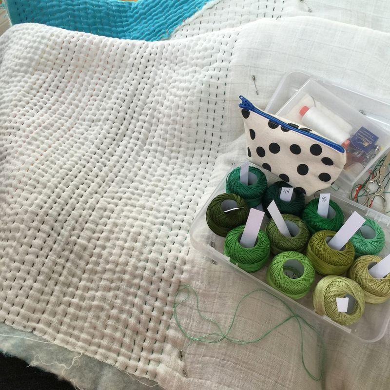 Whole cloth double gauze quilt 4