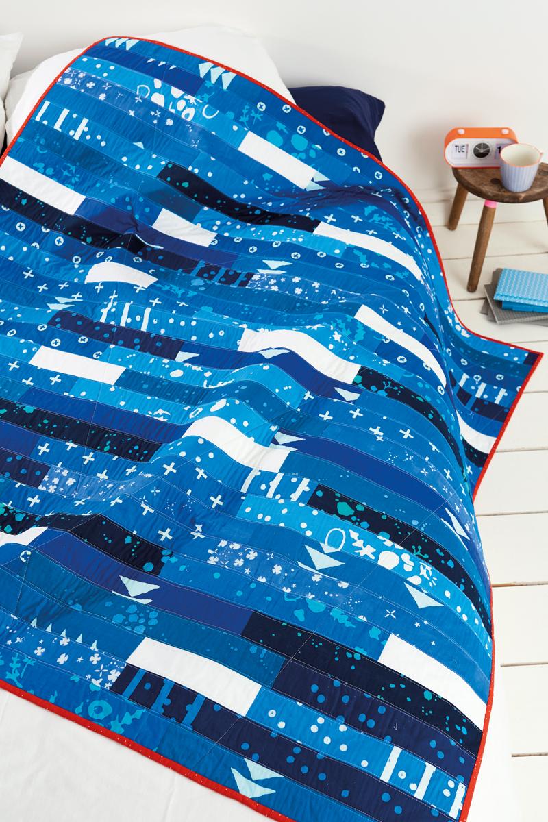 Indigo Stripe quilt in LPG magazine by Karin Jordan