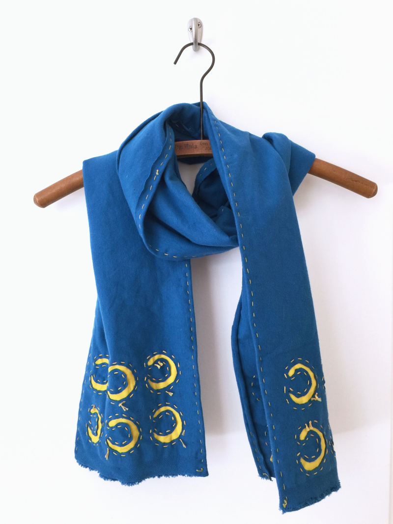 Reverse applique jersey knit scarf by karin jordan