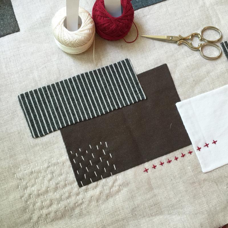 Improv applique table runner detail 1 by karin jordan