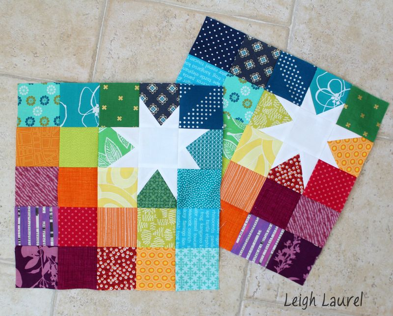 Rainbow blocks with white star blocks by karin jordan