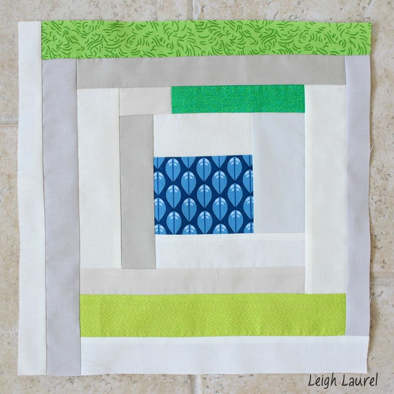 Blue green neutral log cabin block by karin jordan