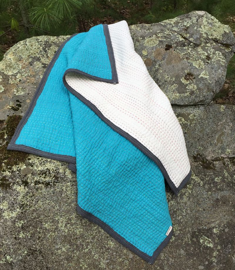 Hand stitched whole cloth double gauze quilt by karin jordan2