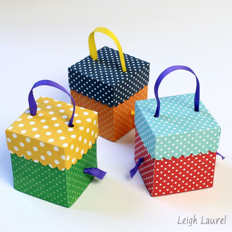 Birthday party favor boxes by karin jordan using a sizzix die