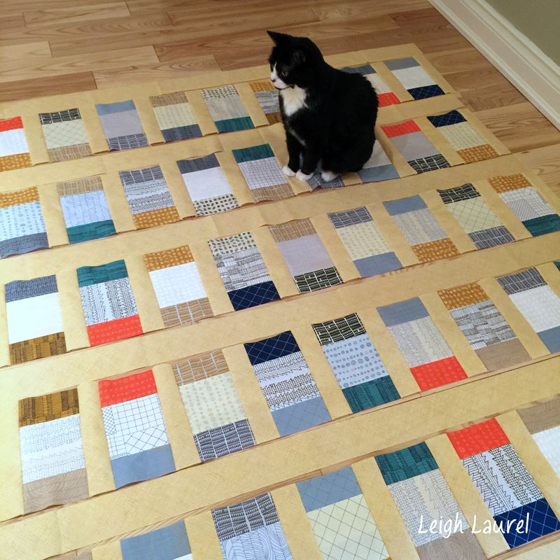 Cat on quilt in progress