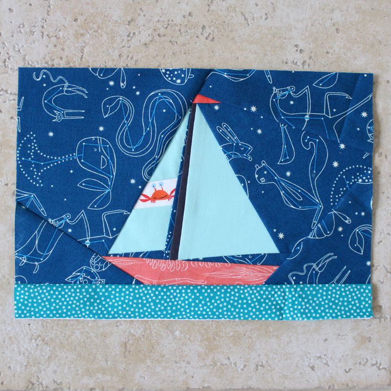 Paper pieced sailboat