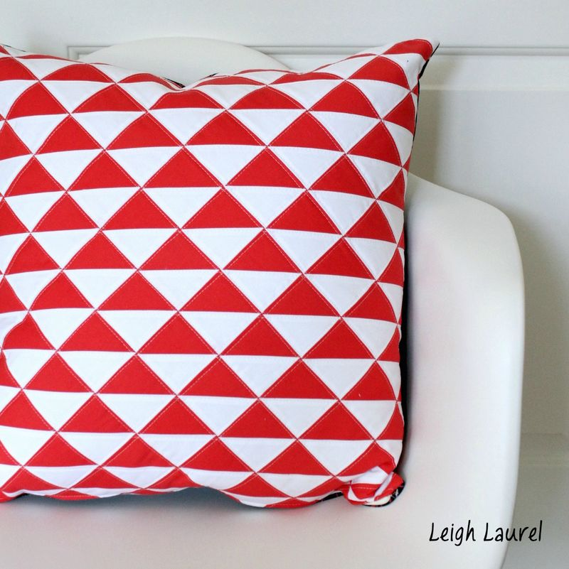 On point triangle pillow 1 by karin jordan
