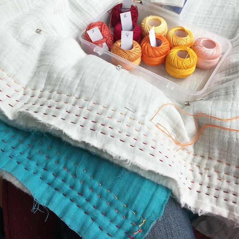 Whole cloth double gauze quilt 1