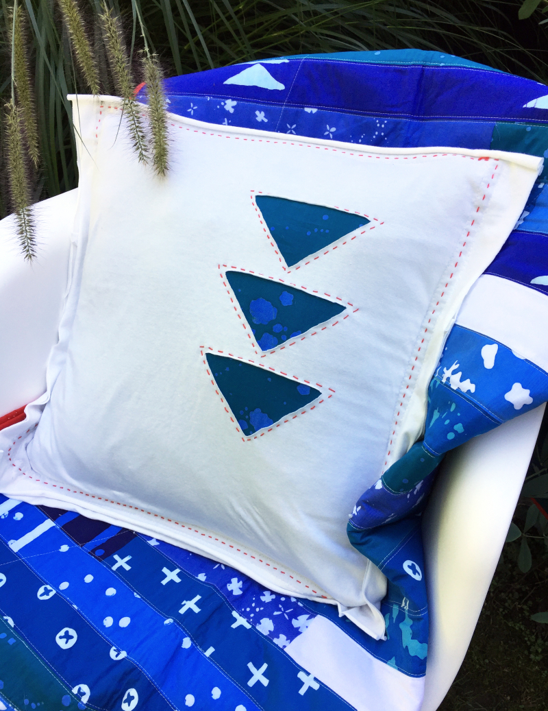 Indigo jersey pillow by karin jordan