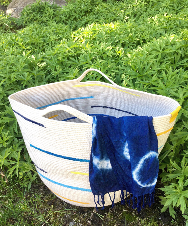 Large rope bowl basket with handles and indigo dyed scarf